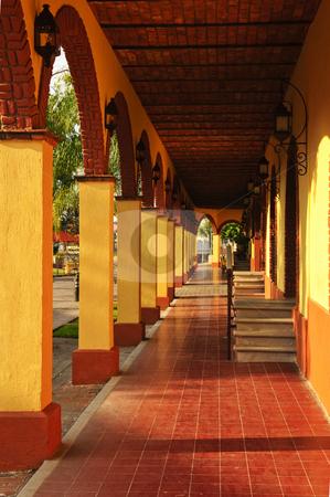 Sidewalk in Tlaquepaque district, Guadalajara, Mexico stock photo, Covered sidewalk in Tlaquepaque shopping district in Guadalajara, Jalisco, Mexico by Elena Elisseeva