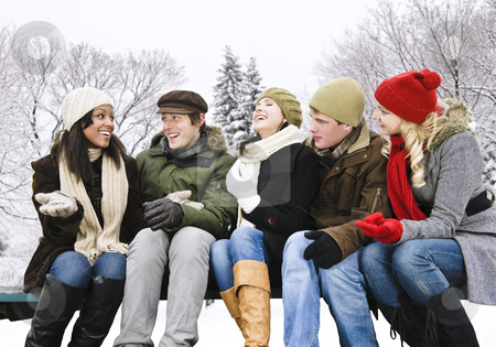 Group of friends outside in winter stock photo, Group of young friends talking and laughing outdoors in winter by Elena Elisseeva