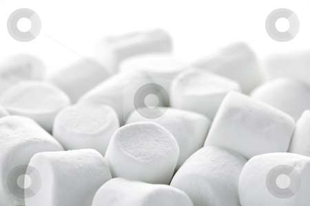 Marshmallows stock photo, Close up of many plump sweet marshmallows by Elena Elisseeva