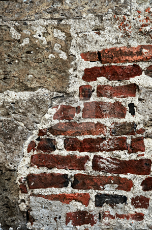 Grunge brick background wall stock photo, Old red brick and cement grunge wall background by Elena Elisseeva