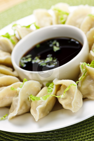 Steamed dumplings and soy sauce stock photo, Closeup on plate of steamed dumplings with soy sauce by Elena Elisseeva