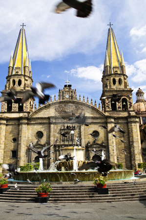 Guadalajara Cathedral in Jalisco, Mexico stock photo, Pigeons flying in front of the Cathedral in historic center in Guadalajara, Jalisco, Mexico by Elena Elisseeva