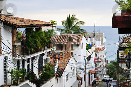City street in Puerto Vallarta, Mexico stock photo, Street leading to Pacific ocean in Puerto Vallarta, Mexico by Elena Elisseeva