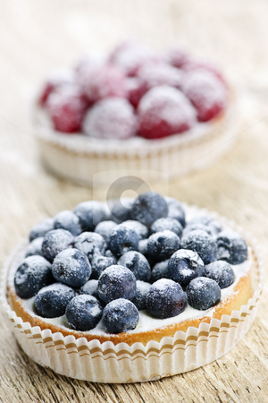 Fruit tarts stock photo, Closeup of fancy gourmet fresh berry dessert tarts by Elena Elisseeva