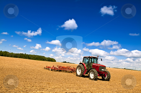 Tractor in plowed field stock photo, Small scale farming with tractor and plow in field by Elena Elisseeva