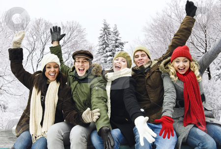 Group of happy friends outside in winter stock photo, Group of excited young friends with arms raised outdoors in winter by Elena Elisseeva