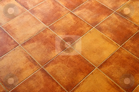 Tiled floor stock photo, Closeup of square terracotta ceramic tile floor background by Elena Elisseeva