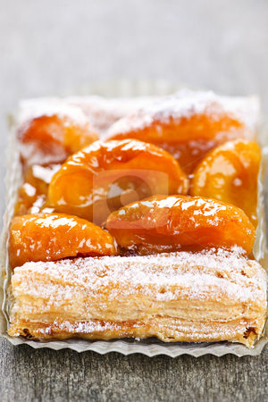 Apricot fruit strudel stock photo, Closeup on slice of flaky apricot strudel pastry dessert by Elena Elisseeva