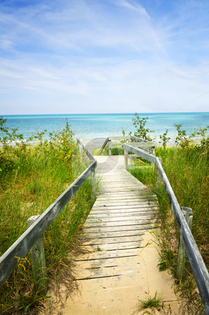 Wooden walkway over dunes at beach stock photo, Wooden path over dunes at beach. Pinery provincial park, Ontario Canada by Elena Elisseeva