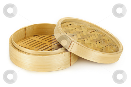 Bamboo steamer stock photo, Round bamboo steamer isolated on white background with lid by Elena Elisseeva