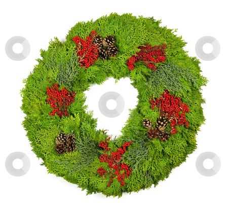 Christmas wreath stock photo, Green Christmas wreath with pine cones and berries isolated on white by Elena Elisseeva