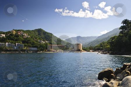 Pacific coast of Mexico stock photo, View on Pacific coast of Mexico resort town of Mismaloya near Puerto Vallarta by Elena Elisseeva
