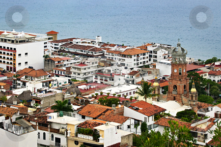 Puerto Vallarta, Mexico stock photo, Cityscape view from above with church and Pacific ocean in Puerto Vallarta, Mexico by Elena Elisseeva