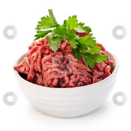 Bowl of raw ground meat stock photo, Close up on isolated bowl of lean red raw ground meat by Elena Elisseeva
