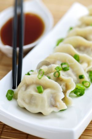 Steamed dumplings and soy sauce stock photo, Plate of steamed dumplings with soy sauce and chopsticks by Elena Elisseeva