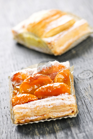 Pieces of fruit strudel stock photo, Closeup on two slices of flaky fruit strudel desserts by Elena Elisseeva