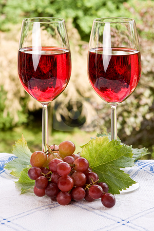 Wine for two stock photo, Summer setting of two glasses filled with red wine by Anneke