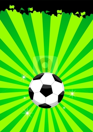 Soccer ball layout stock photo, An illustration of a soccer ball and the silhouettes of a suporting crowd by Mihai Zaharia