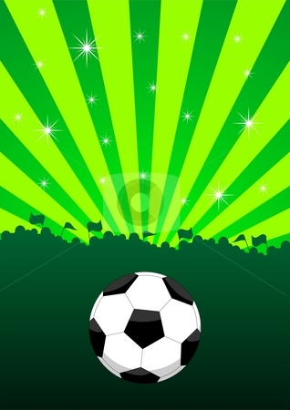 Soccer ball layout stock photo, An illustration of a soccer ball and the silhouettes of a supporting crowd by Mihai Zaharia