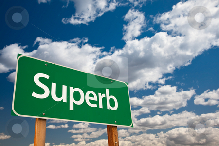 Superb Green Road Sign with Sky stock photo, Superb Green Road Sign with Dramatic Clouds and Sky - The Kudos Sign Series. by Andy Dean