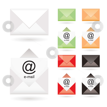 Email icon collection stock vector clipart, Email icon collection with open envelope and color variation by Michael Travers