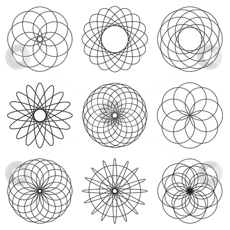 Illustrated spiral effect stock vector clipart, Black and white spiral illustration collection ideal icons by Michael Travers