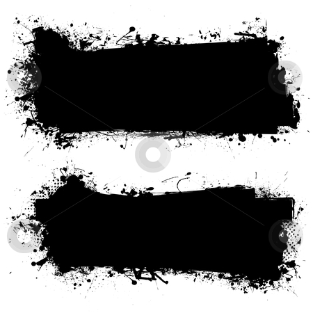 Ink black grunge banner stock vector clipart, Grunge ink splat banner with room to add text with halftone dot by Michael Travers