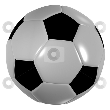 Football traditional black stock photo, Traditional black and white soccer ball or football by Michael Travers