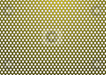 Hexagon metal gold white stock vector clipart, Gold metal background with hexagon white hole in surface by Michael Travers