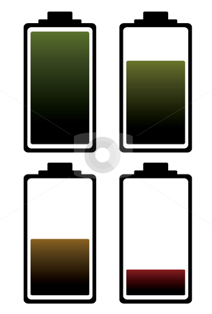 Battery charge color icon stock vector clipart, Four stages of battery charge indicating level of power left by Michael Travers