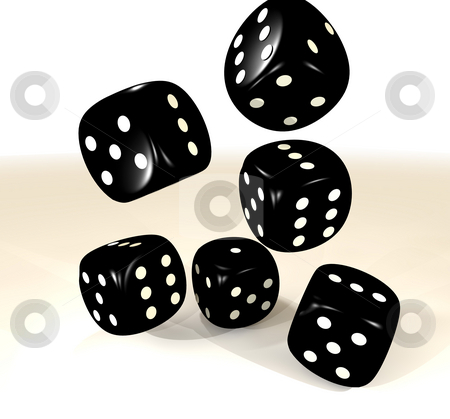 Black six dice stock photo, Collection of six dice with black surface and white dots by Michael Travers