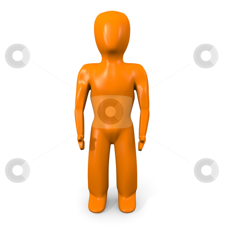 Naranja man forward stock photo, Orange muscle man facing forward on a white background by Michael Travers