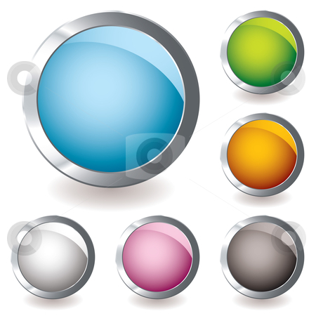 Web icon variation round stock vector clipart, Six round web icon button with bright colours and shadow by Michael Travers