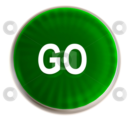 Green go button stock photo, Bright green transparent button icon with silver metal bevel by Michael Travers