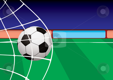 Football pitch goal net stock vector clipart, Football pitch with ball in net and green stripe grass by Michael Travers