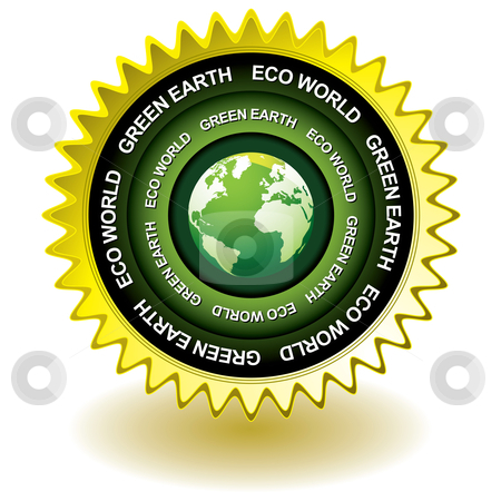 Green earth eco icon stock vector clipart, Green earth concept icon with world globe symbol by Michael Travers