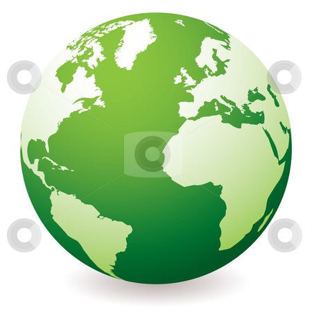 Green earth globe stock photo, Green planet earth showing a green globe with drop shadow by Michael Travers