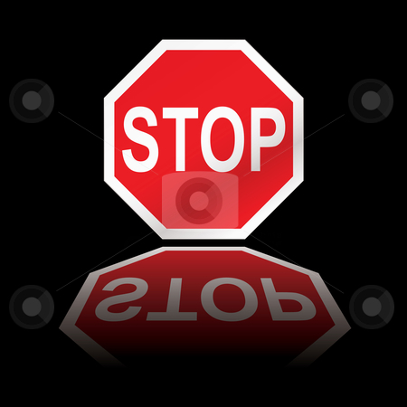 Stop road sign reflection stock vector clipart, Red stop road sign with black background and reflection by Michael Travers