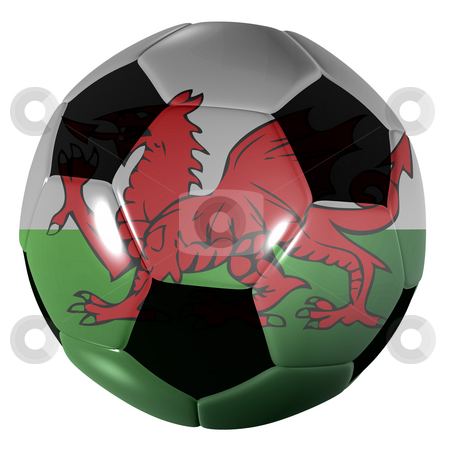 Football wales stock photo, Traditional black and white soccer ball or football wales by Michael Travers