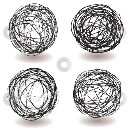 Scribble ball icon stock vector clipart, Set of scribble ball icons with pen drawing and drop shadow by Michael Travers