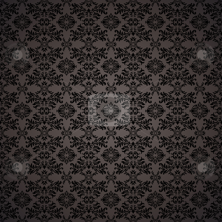 Gothic seamless wallpaper stock vector clipart, Black gothic repeating seamless wallpaper background design concept by Michael Travers