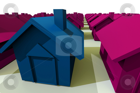 Red and green house stock photo, Birds eye view of a street of houses with chimneys with perspective by Michael Travers