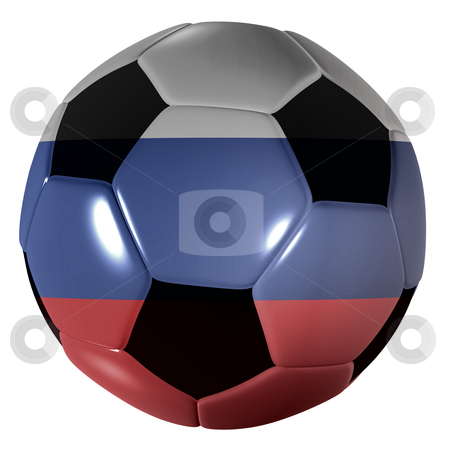 Football russian stock photo, Traditional black and white soccer ball or football russian by Michael Travers