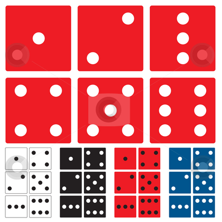Dice collection flat stock photo, Collection of disc side with color variation and spots by Michael Travers