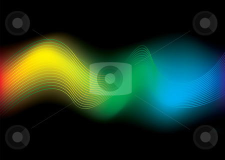 Rainbow stream background stock vector clipart, Brightly colored rainbow background with flowing wavy lines by Michael Travers
