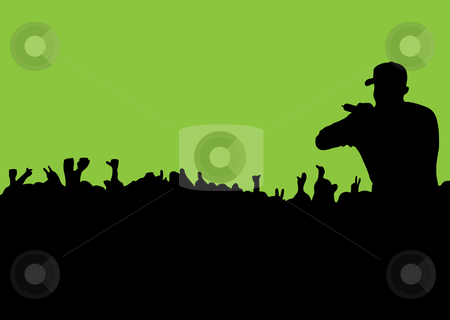 Silhouette Concert crowd stock vector clipart, Rock or rap concert with people in silhouette waving hands and fists by Michael Travers