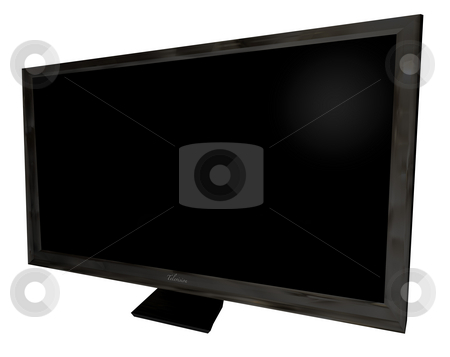Television front angle stock photo, Black modern flat screen TFT television with blank space by Michael Travers