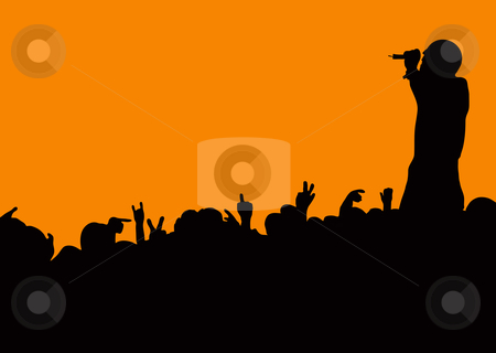 Concert crowd wave stock vector clipart, Crowd silhouette at music concert with artist singing with orange background by Michael Travers
