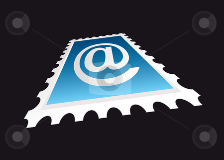 Email stamp perspective stock vector clipart, Email stamp concept with perspective angle and black background by Michael Travers