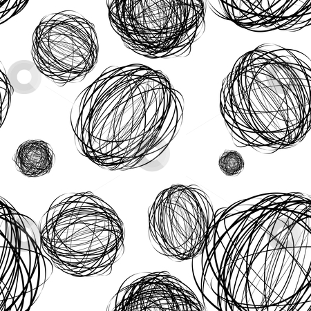Scribble seamless wallpaper stock vector clipart, Black pencil scribble ball with seamless pattern background by Michael Travers